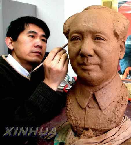 泥人张 传人为世纪伟人毛泽东塑像 北