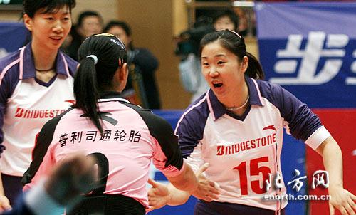 女排联赛天津女排与南开大学女排的比赛在天津体育馆进行,这高清图片