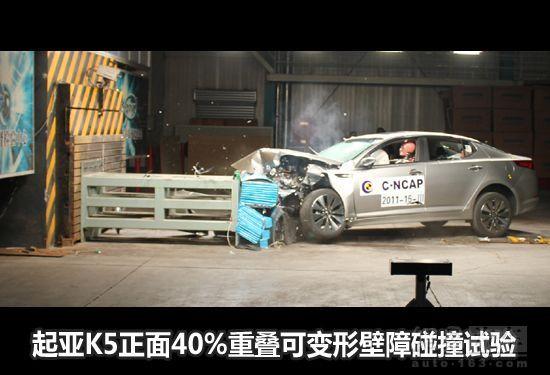 起亚K5碰撞解析 侧碰试验时车门后端自动张开高清图片