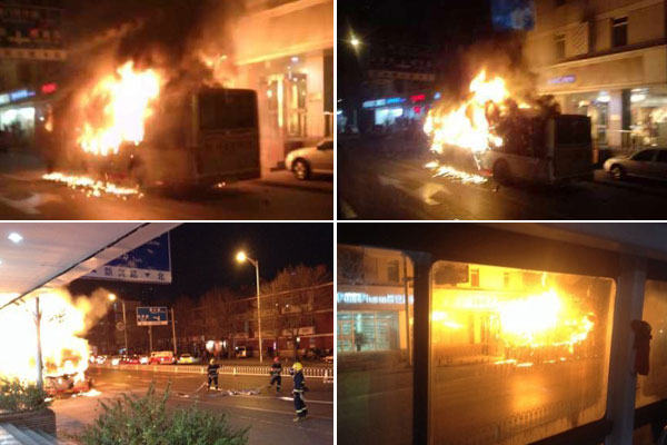 天津 交通晚高峰908路公交车当街自燃高清图片