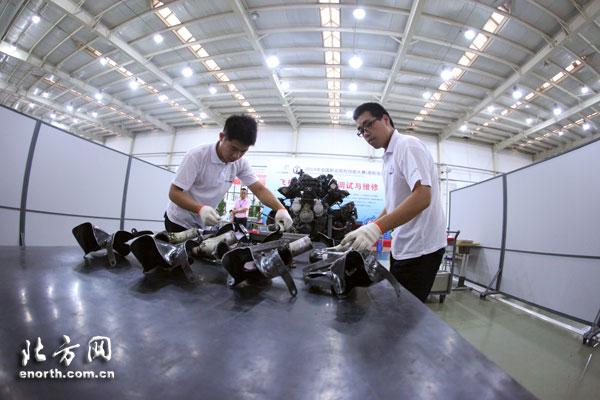 全国首届飞机发动机拆装调试 维修大赛在津举行