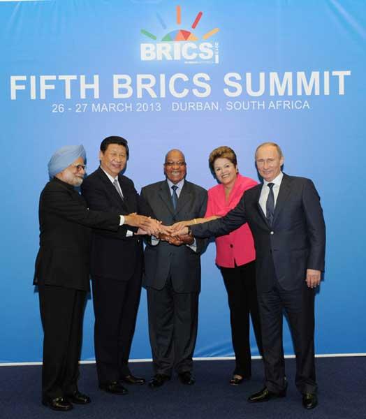 国家主席习近平在南非德班出席金砖国家领导人第五次会晤.这是与图片