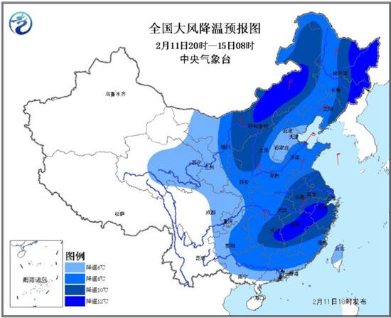 寒潮来袭!中国中东部将迎来大范围雨雪降温